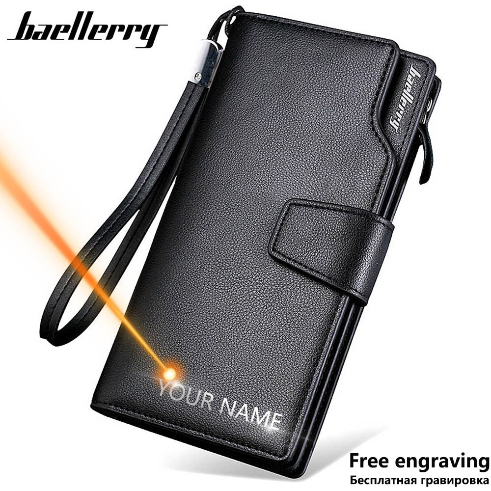 Baellerry Men Wallets Long Style High Quality Card Holder Male Purse Zipper Large Capacity Brand PU