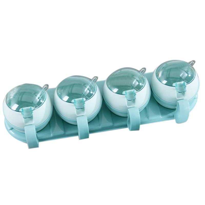LIXF 4 Pcs Set Seasoning Box Home Kitchen Salt Sugar Storage Box Holder Plastic Spice Jar Condiment Cruet Kitchen Tools