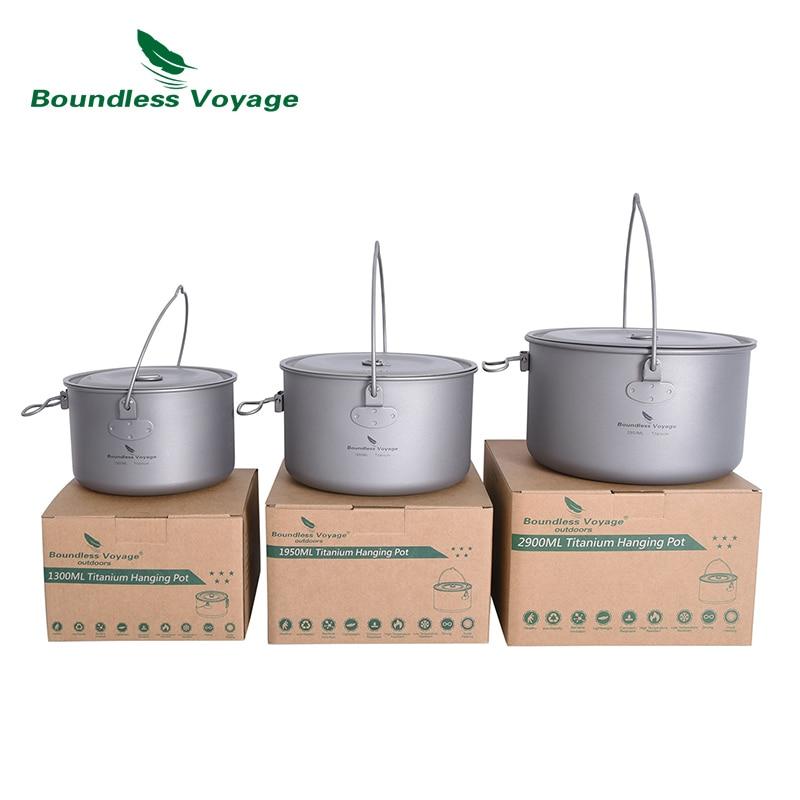 وعاء معلق من التيتانيوم لا حدود له 1.3L/1.95L/2.9L تجهيزات المطابخ التخييم خفيفة الوزن في الهواء الطلق وعاء الطبخ مع غطاء