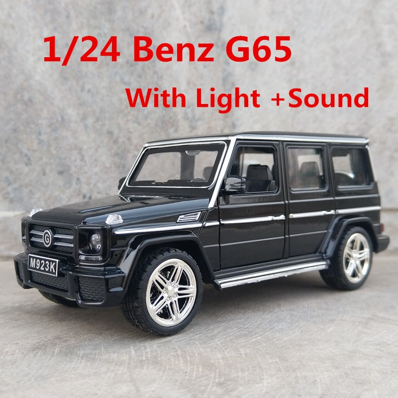 124 g65 suv amg puxar para trás modelo de carro brinquedo som luz diecast brinquedos modelos de veículos de metal modelo de carro mini carros pista presentes de aniversário