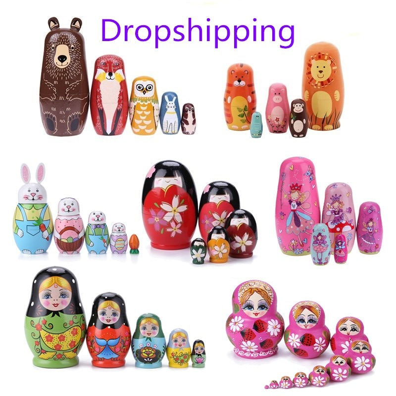 1 Set Wood Russian Nesting Dolls Matryoshka Dolls Babushka Hand Paint Bear Poupee Russe for Kids Gifts Crafted Doll Home Decor