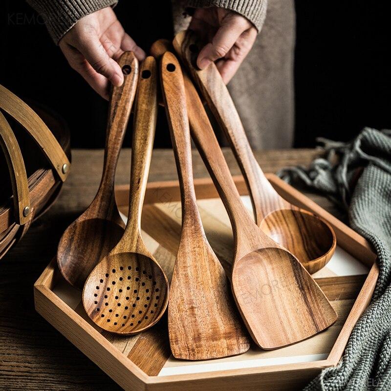 الخشب الطبيعي أدوات المائدة ملعقة مغرفة تيرنر طويل الأرز مصفاة شوربة مقشدة الطبخ ملاعق مغرفة طقم أدوات المطبخ