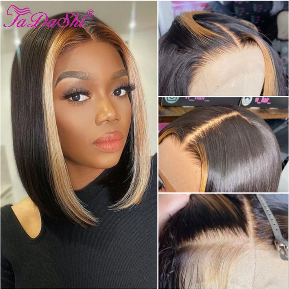 Short Bob Wig Lace Front Human Hair Wig Highlight Wig Ombre Human Hair Brazilian Hair Wig For Black Women Pre Plucked Human Hair