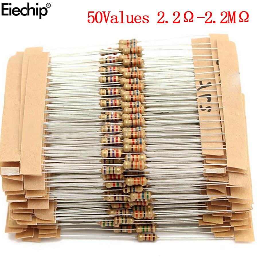 1000pcs/lot 1/4W resistors assorted kit 0.25W Carbon Film resistance set  2.2 ohm -2.2 M  Assortment resistor 2.2 ohm 100 ohm 150pcs lot 5w power carbon film resistor kit assortment set 1k ohm 820k ohm 5