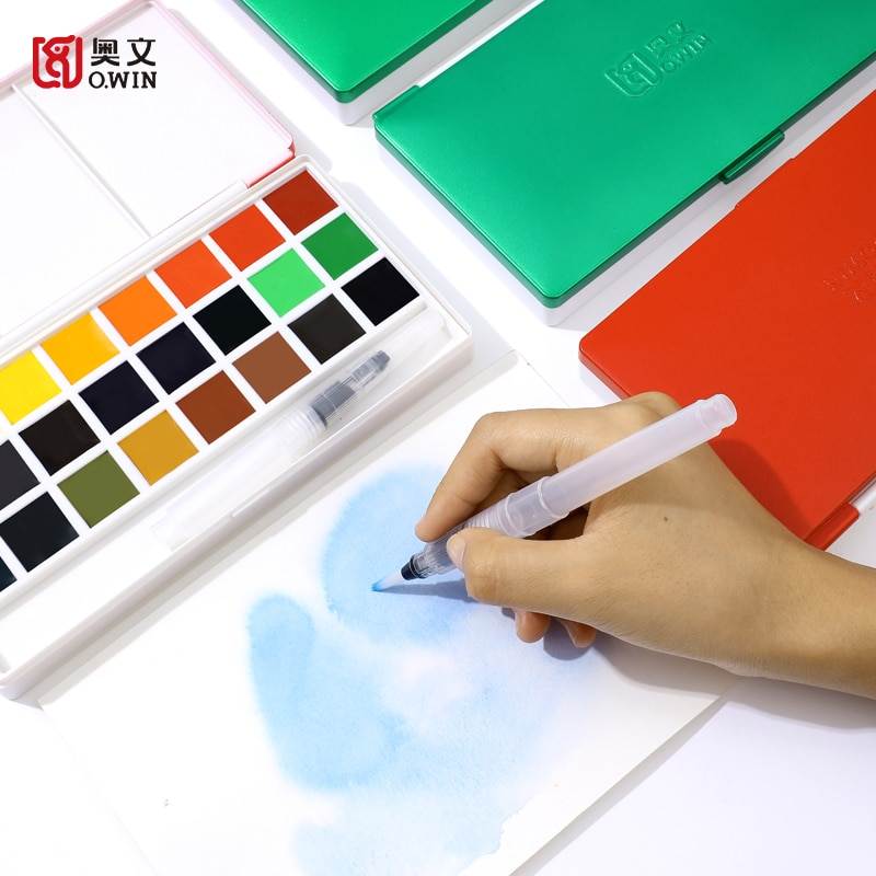 Owin 18/24 cores viagem portátil sólido pigmento aquarela tintas conjunto com água cor escova caneta para pintura arte suprimentos
