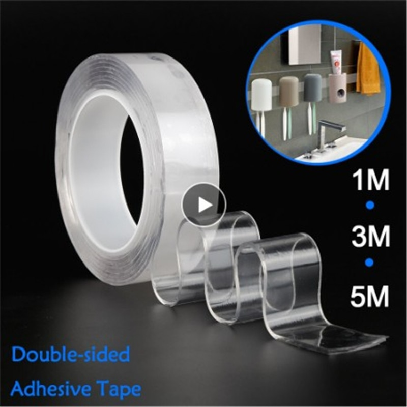Fita mágica reutilizável dupla face adesivo nano traceless fita removível adesivo lavável laço discos cola à prova dwaterproof água