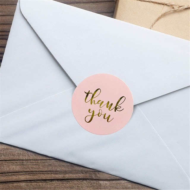 500 Pcs/Roll Golden Foil Thank You Stickers DIY Gifts Label Stickers for Packageing 10