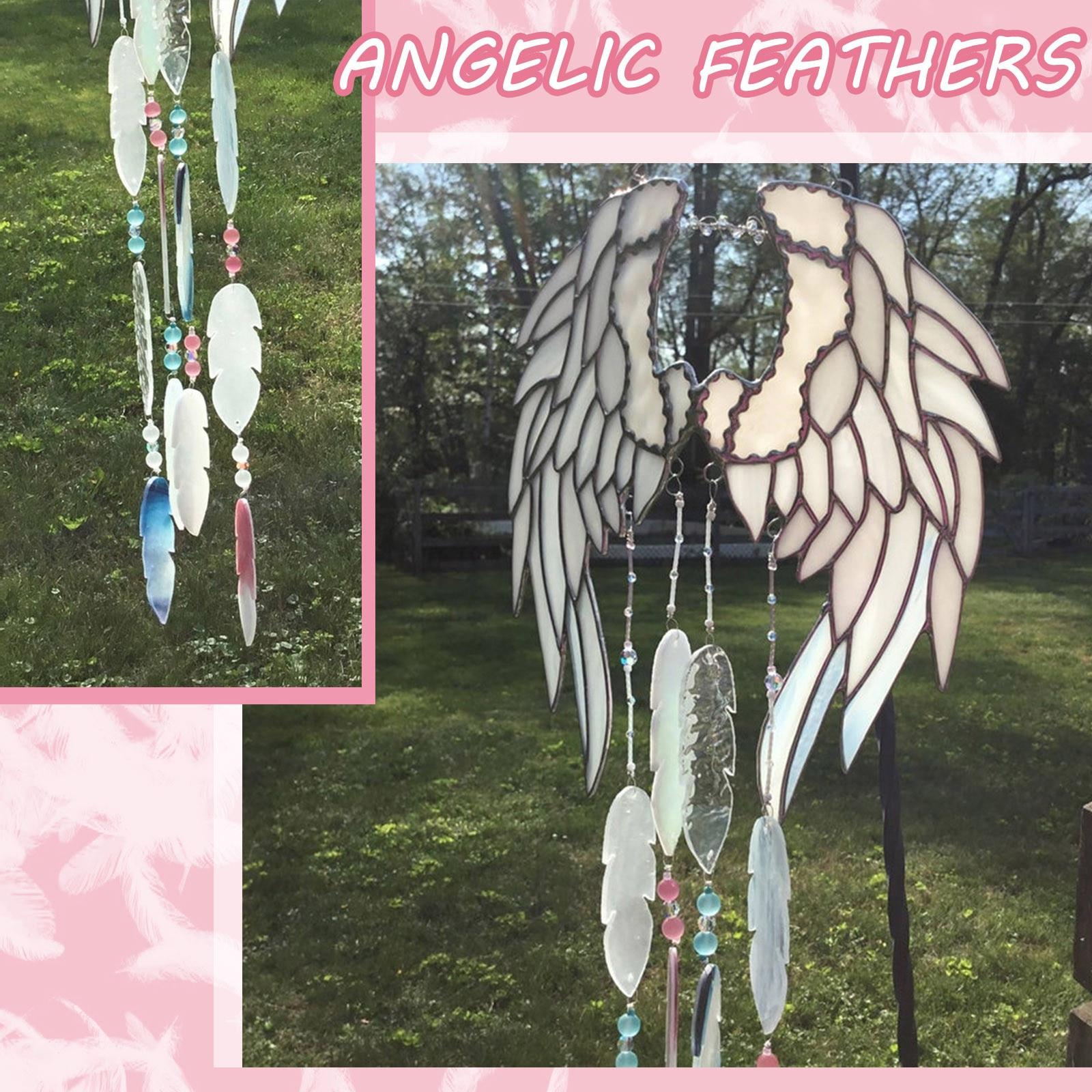 Alas de Ángel pequeñas hechas a mano, plumas, carillones de viento, colgante...