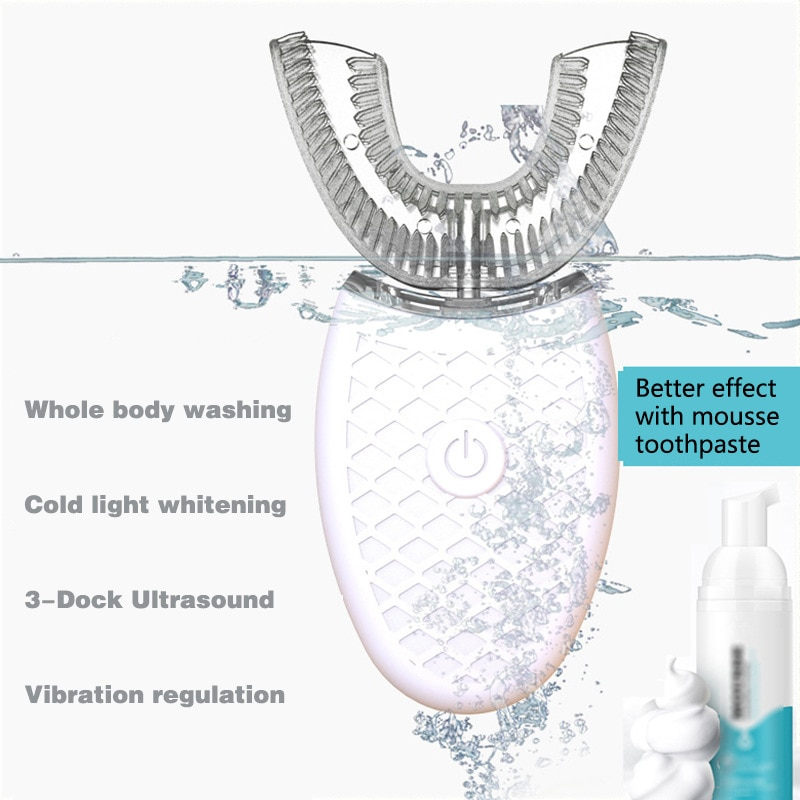 360 Degrees Intelligent Automatic Sonic Electric Toothbrush U Type 4 Modes Tooth Brush USB Charging Tooth Whitening Blue Light enlarge