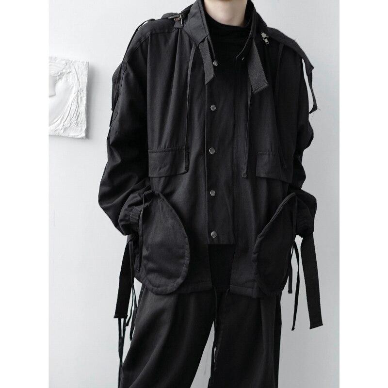Neue Männliche Frauen Paar Casual Mantel Oberbekleidung männer Lose Schwere Handwerk Dark Band Japan Harajuku Streetwear Kapuzen Cargo Jacke