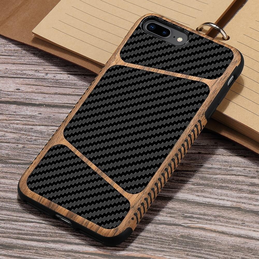 Funda de lujo de fibra de carbono de grano de madera para Apple IPhone 11 Pro Max X XS XR 7 8 6 6S Plus SE 2020 funda trasera de TPU suave para teléfono