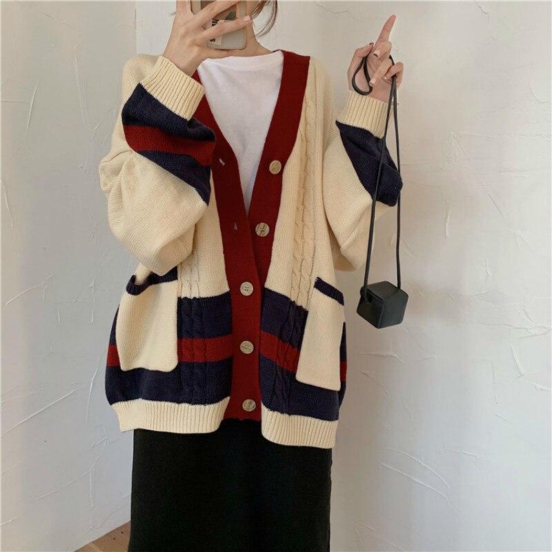Women Autumn Winter Twist Patchwork Long Sweater Coat Female Long Sleeve V Neck Knitted Cardigan Loose plus size Pocket Outwear enlarge