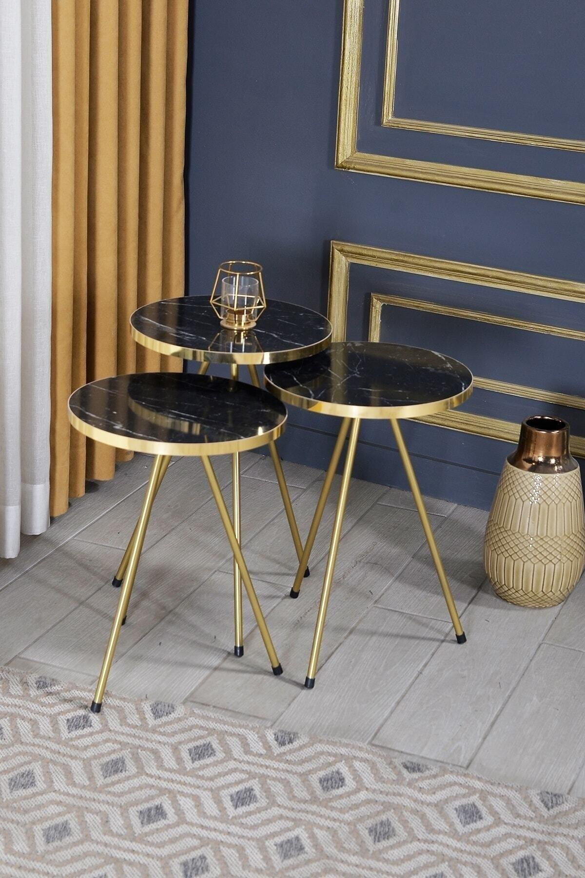 Zigon Coffee Table 3 pcs Gold Metal Toe Bendir Gold