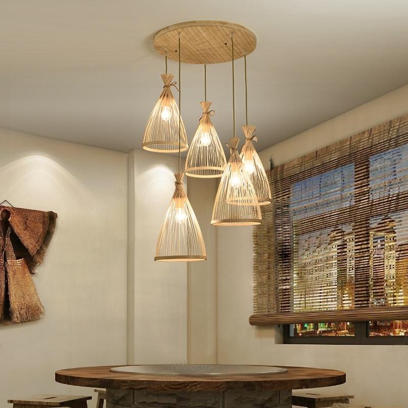 جديد النمط الصيني الخيزران اليابانية مطعم مصابيح الثريا غرفة الشاي مصباح الرعوية زن حصير الخيزران عمل فني صغير droتحكم