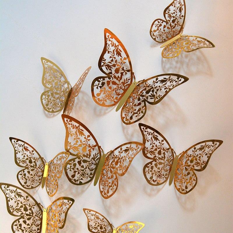12 шт./лот 3d эффект кристалл стикер на стену с бабочками красивая бабочка для детской комнаты наклейки на стены украшение дома на стену