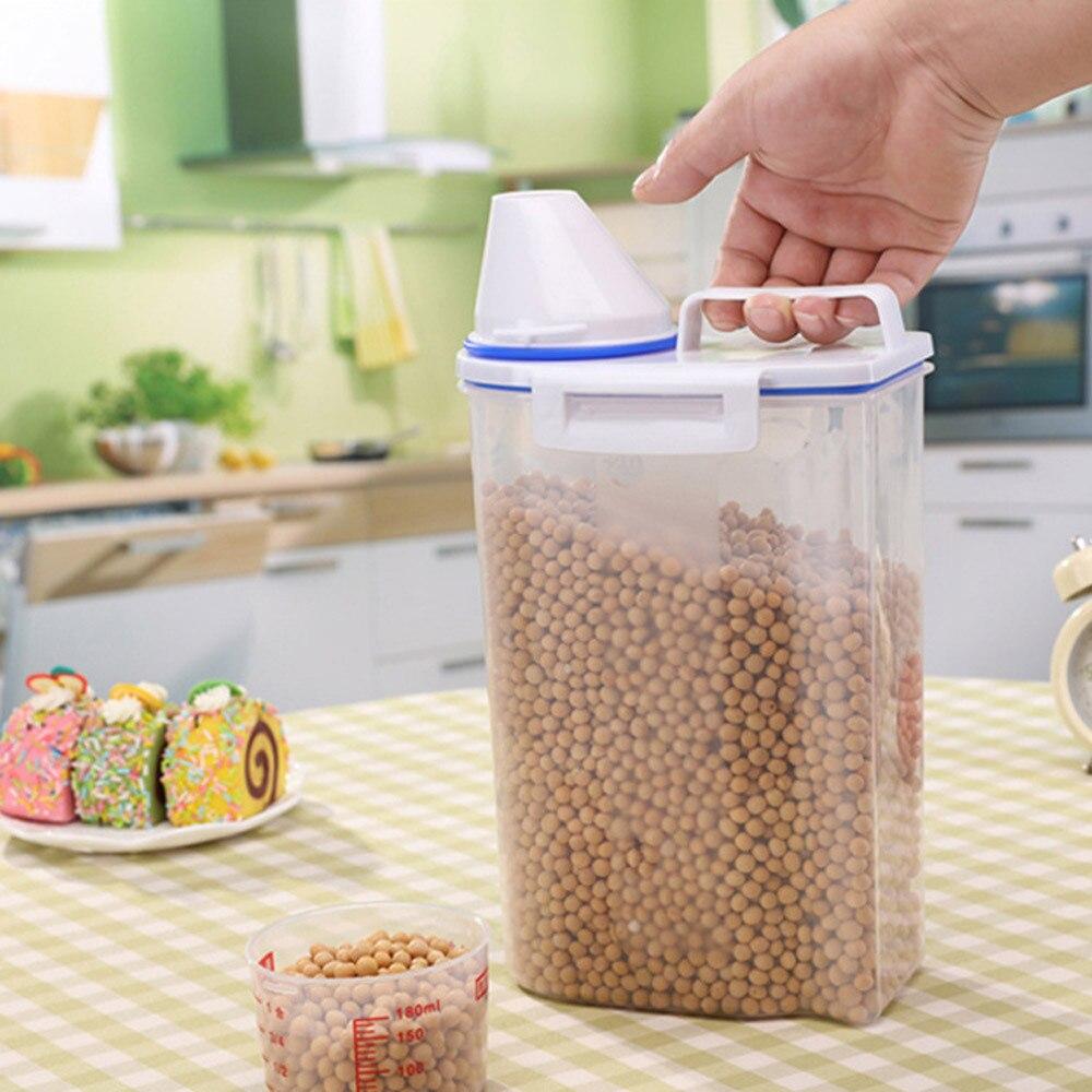 1 unidad de caja de almacenamiento de plástico para dispensador de cereales, recipiente de cocina para comida, grano, arroz, caja de almacenamiento, lata de almacenamiento de grano de harina, XB 104