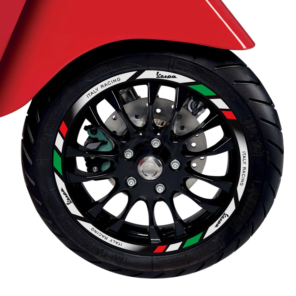 "For Vespa GTS GTV 250 300 Sprint 50 150 Rim 12"" Wheel Reflective Sticker Kit"