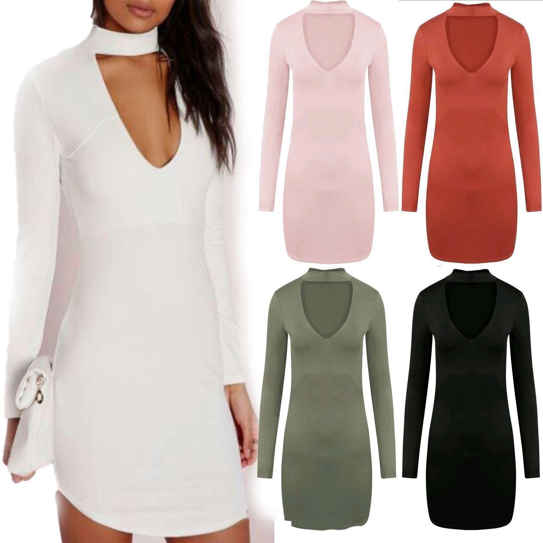 Elegant Fashion Women Long Sleeve Deep V Neck Dress Ladies Winter Bodycon Slim Short Mini Pencil Dresses Women Dress 2021