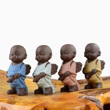Small Buddha Ceramic Crafts Cute Little Monk Tea Pet Purple Figurine Home Decoration Feature Monk De