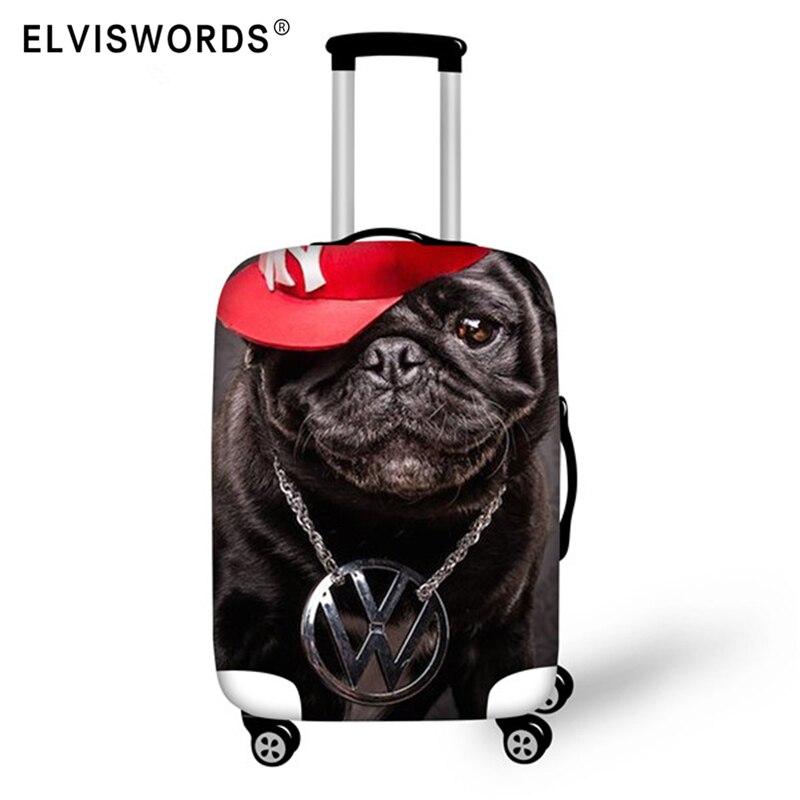 Acessórios de Viagem Mala de Bagagem Capas para 18-30 Elviswords Bulldog Impressão Elástica Trole Case Polegada Capa Protetora 3d Pug