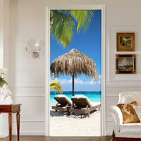 Beach Sunlight Coconut Tree Landscape 3D Murals PVC Self-Adhesive Waterproof Door Sticker Home Decor Wall Stickers Decals Poster
