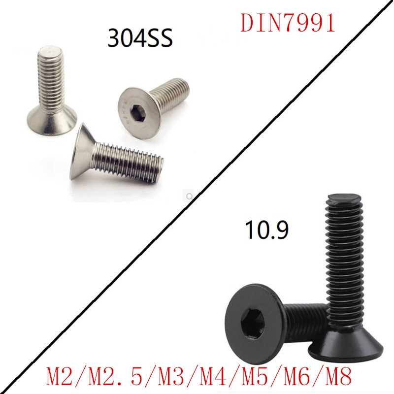 5-50 pces din7991 m2 m2.5 m3 m4 m5 m6 m8 aço inoxidável preto 10.9 liso allen hex soquete parafuso cabeça escareada