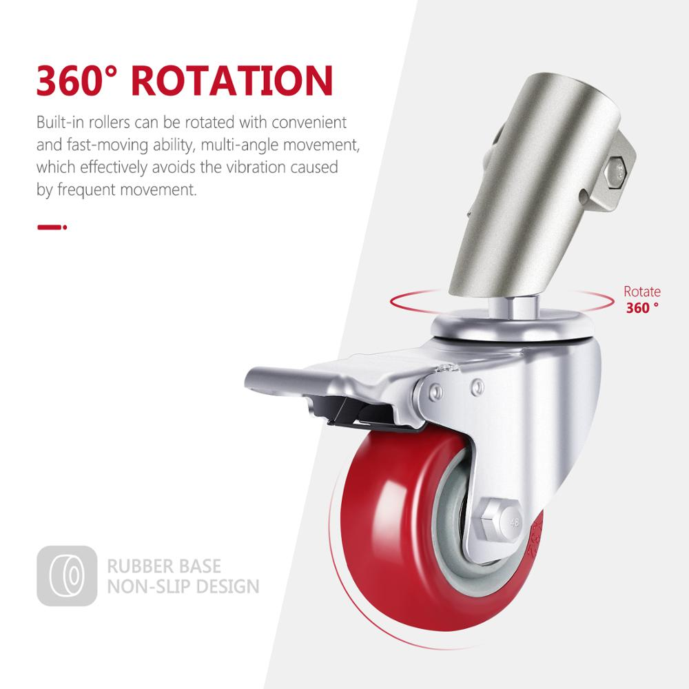 Neewer 3 Packs Professional Swivel Caster Wheels Set with 75mm Diameter, Durable Metal Construction with Rubber Base enlarge