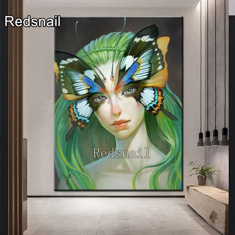 2020 nuevo, Diamante pintura mariposa elfo dibujos animados decoración de pared encantadora niña diamantes bordado diamante redondo completo, TT1938