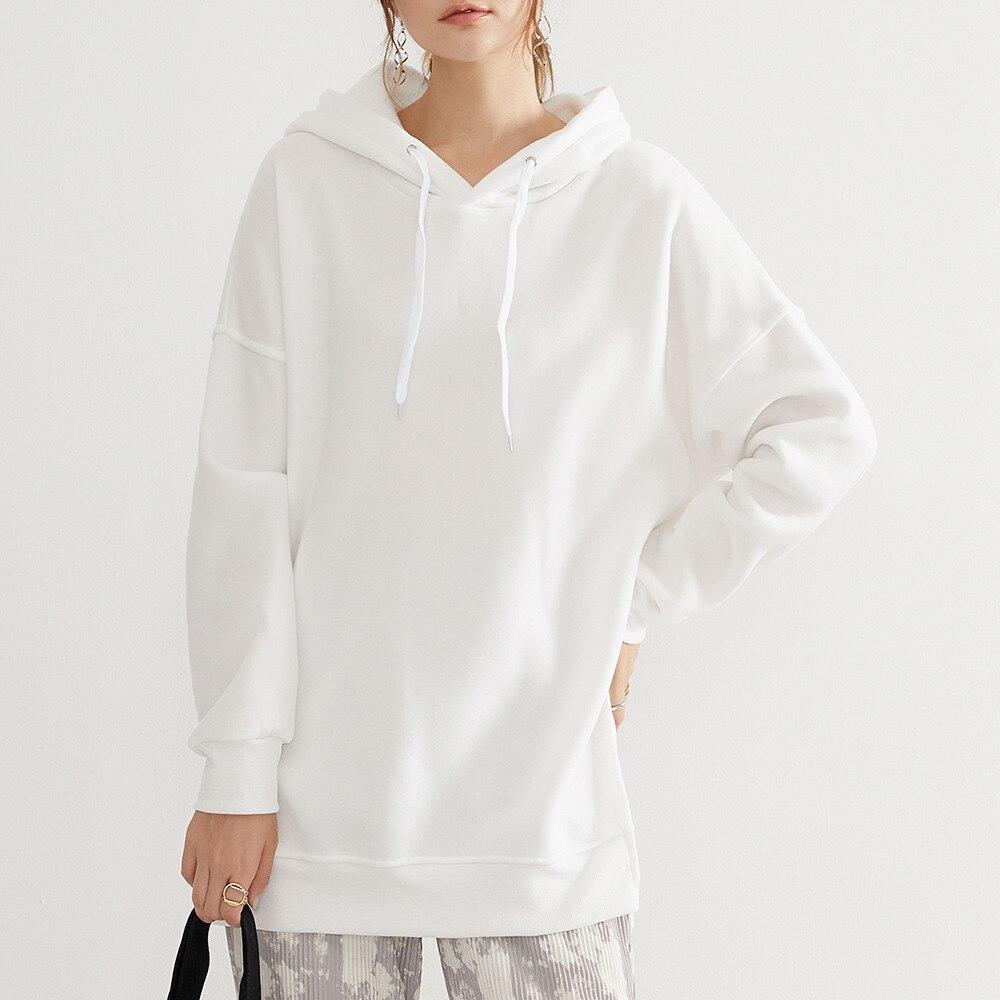 Women's Pullover Sweatshirt Spring Autumn Hooded Loose White Mid-length Long-sleeve Hoodie Casual Gi