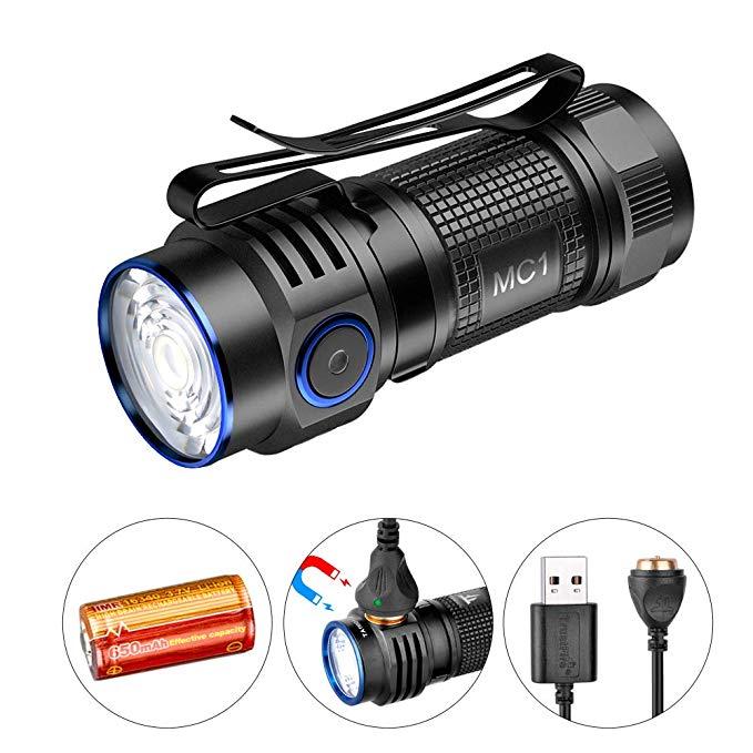 Trustfire mc1 mini usb magnético recarregável compacto edc lanterna de carregamento magnético XP-L hi led lanterna tocha