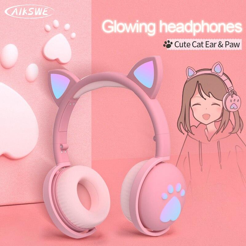 Auriculares Bluetooth brillantes bonitos LED Oreja de Gato pata regalo niñas niños auriculares inalámbricos estéreo HIFI bajo enchufe de 3,5mm con micrófono