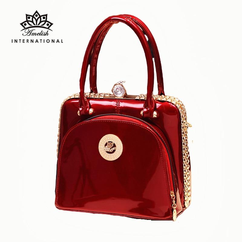 AMELISH Circular Women's Bag Large Capacity Gift Top-Handle Female Handbag High Quality Diamonds Fra