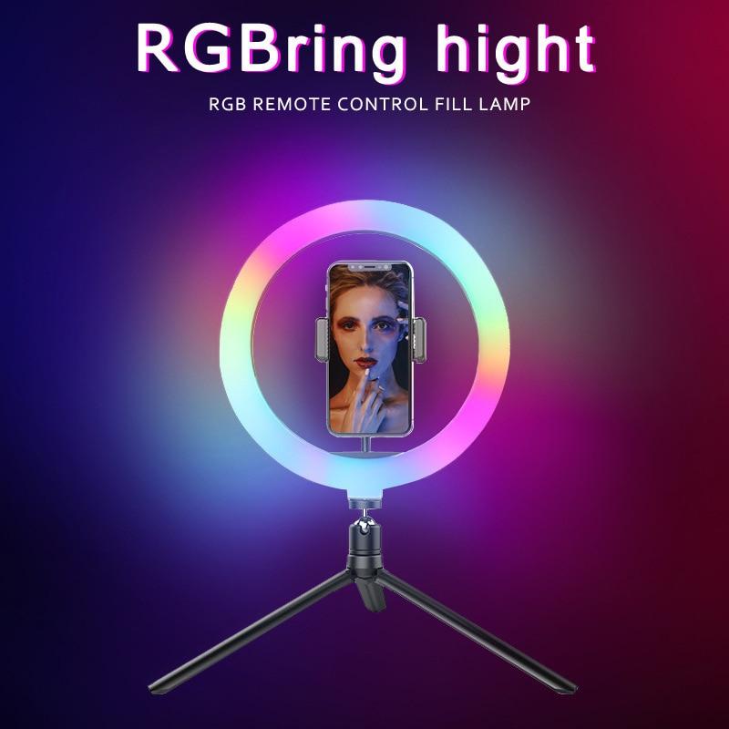 RVB Anneau Lumière de Remplissage 10 Pouces LED Anneau Coloré Lampes Support Pour Téléphone Support De Trépied De Bureau Miroir de Maquillage Léger Vivre Lampe De Remplissage