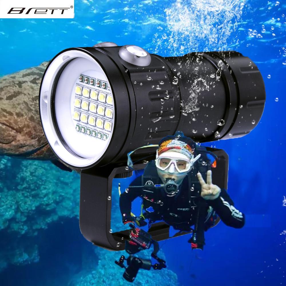 LED الغوص مضيا الشعلة 20000 لومينز 6 x XHP70 تحت الماء الإضاءة 100 متر مقاوم للماء التكتيكية الشعلة للكاميرا فيديو ملء ضوء