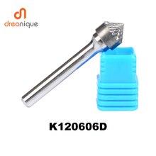 2 pièces/lot K type cône 90 degrés 12*6mm fraise rotative outils de meulage et abrasifs K120606 6mm outils de fraisage de tige