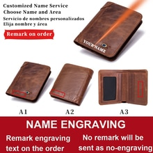 Dascusto Anti-Theft Carving Custom Name Smart Wallet For Men Vintage Genuine Leather Short Purse Wit
