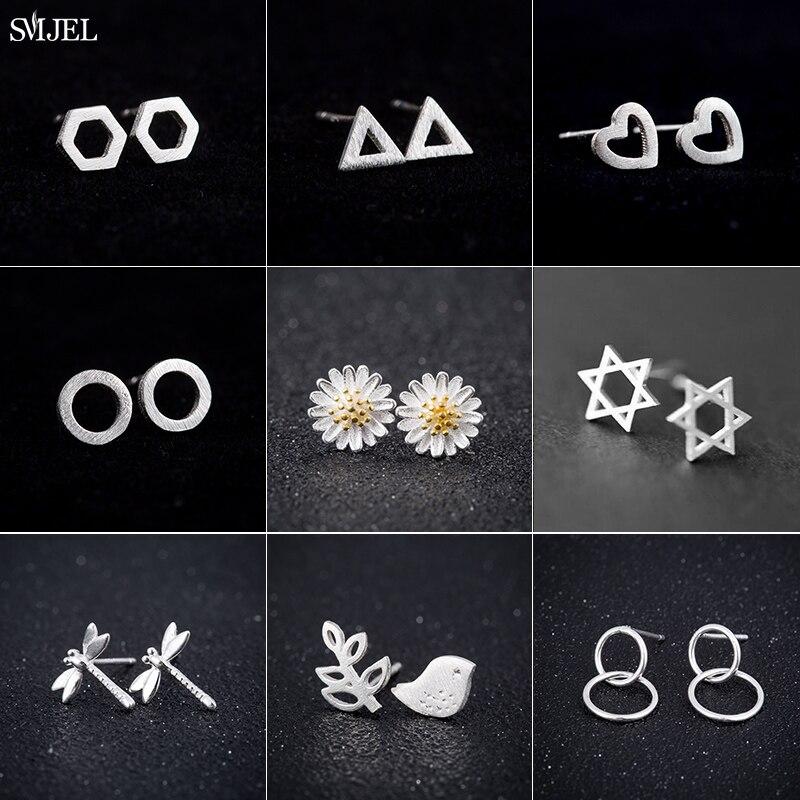 Женские-серьги-гвоздики-из-серебра-925-пробы-с-маленьким-круглым-и-треугольным-сердечком