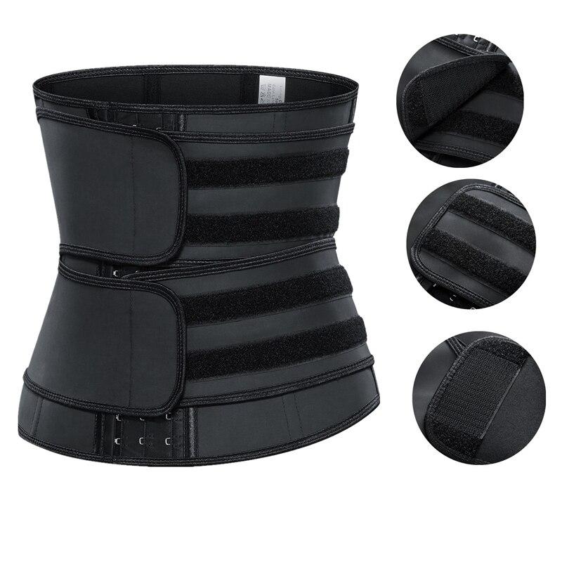 Corsé modelador de cintura de látex con doble cinturón de compresión para mujer, faja de cintura de acero con 9 huesos, lencería colombiana 6XL