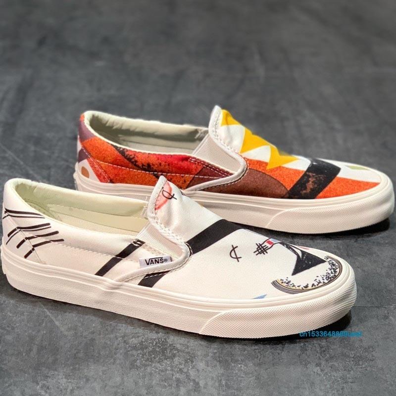 Vans Family Men and Women Modern Art Paint Slip On Skateboard Shoes Unisex Two-Tone Light Laceless Soft Loafers Sneakers