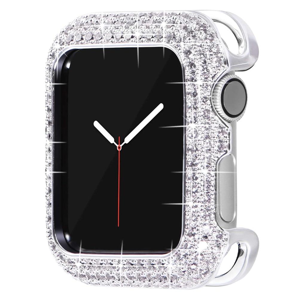 Expensive Metal Frame for Apple Watch Case 40mm 44mm iWatch 3 4 5 6 SE Bumper Bling Women Girl Dress