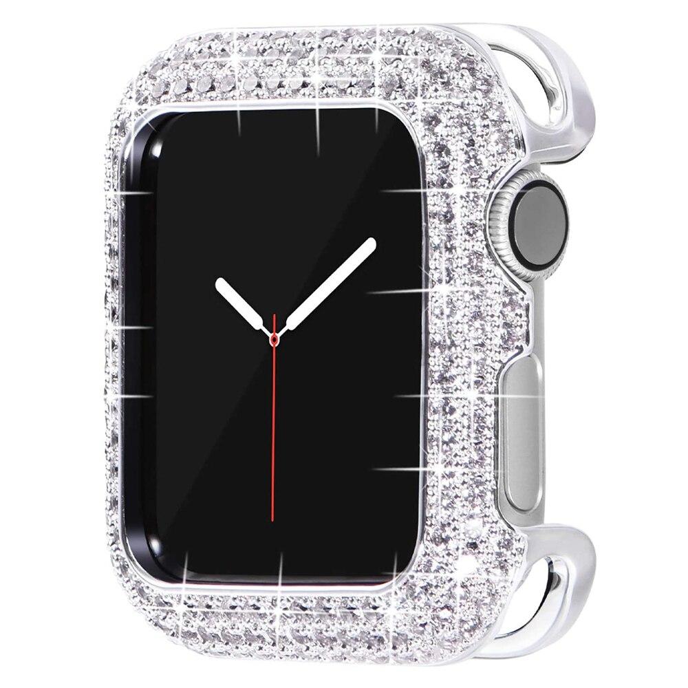 Quadro para Apple Caro Metal Assista Case 44mm Iver 3 4 5 6 se Amortecedor Bling Feminino Menina Elegante Luxo Brilhante Zircão 40mm