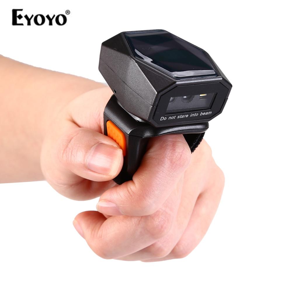 Eyoyo 2D lector de código de barras de anillo portátil Mini 3 en 1 USB con cable 2,4G inalámbrico Bluetooth escáner de dedo iPad iPhone Android
