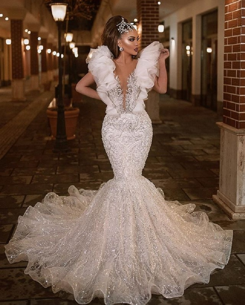 Gorgeous Luxury Beading Mermaid Evening Gowns Lady Pageant Dress White Ruffles Sleeve Lace Prom Wedding  Dresses