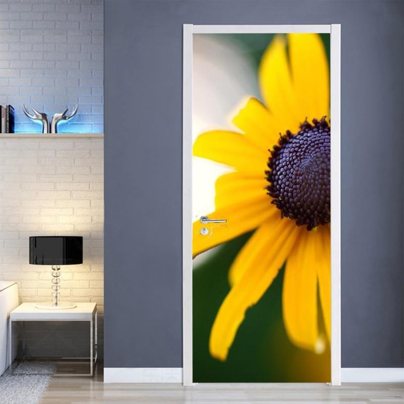 Panorámica de flores pegatinas de puerta de casa de puerta de decoración de pared de la etiqueta engomada Mural papel cartel adhesivo impermeable de PVC Etiqueta de puerta