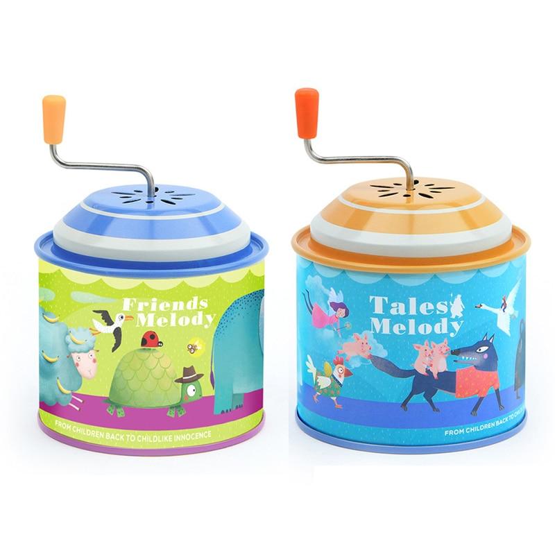 Children Music Toys Metal Tin Instrument Hands Crank Cartoon Music Box Kids Educational Toys Childre