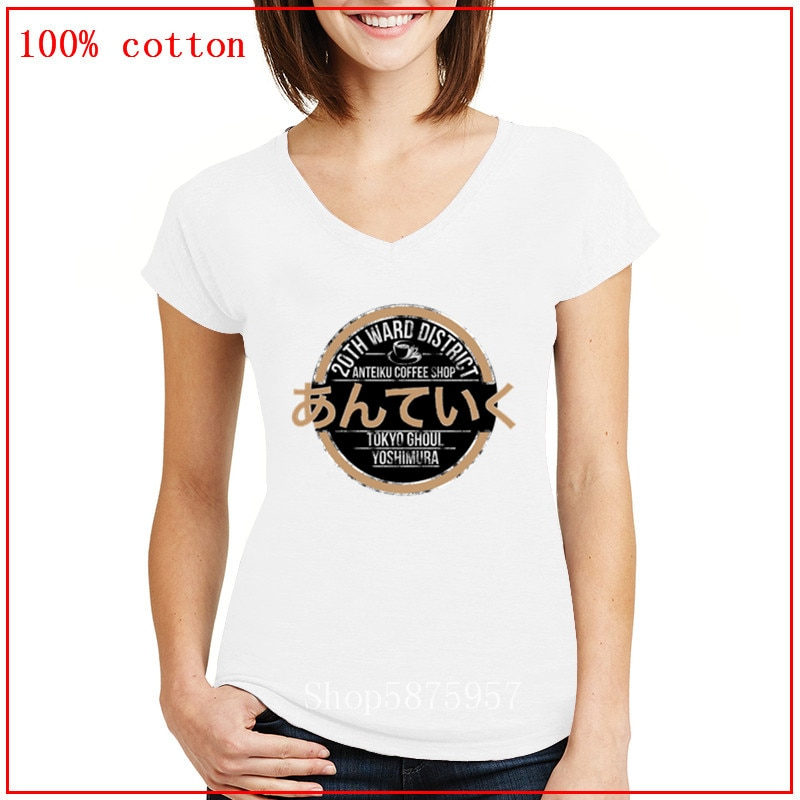 Tokyo Ghoul-Anteiku Café Camiseta Impressão Mulheres Manga Curta V Camiseta Pescoço 2020 Mulheres Verão Camiseta Tops Tops de Verão