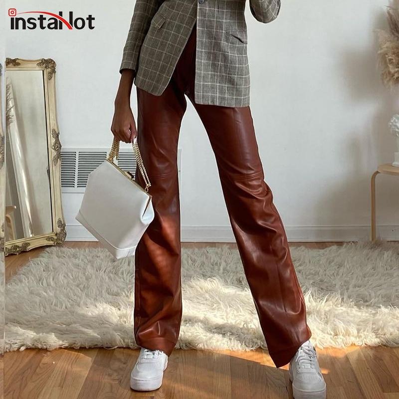InstaHot Vintage عالية الخصر زر جيب مستقيم فضفاض الساقين المرأة بنطلون 2020 الخريف بولي PU فو الجلود أنيقة الإناث السراويل