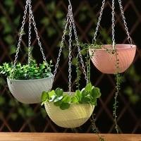 balcony chain hanging planters flower pot basket imitation rattan weaving 1pc