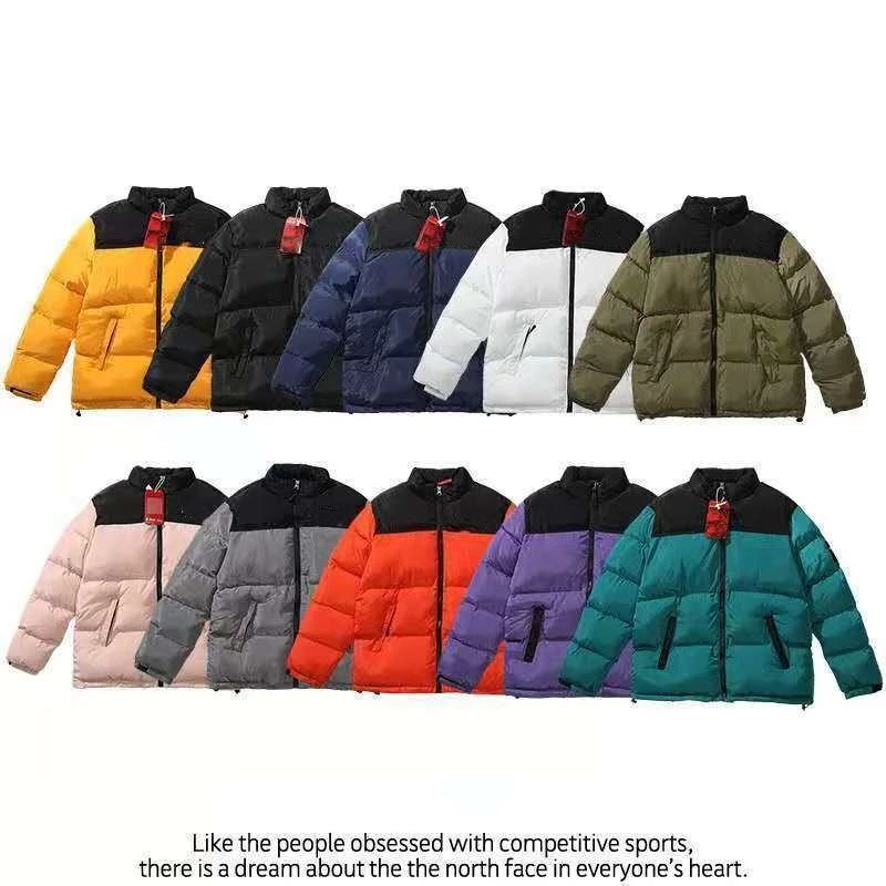 Winter America Brand North Parkas Mixed Colors Couple Cotton Coats Casual Stand Collar Warm Down Puffer Jackets Men/Ladies Top