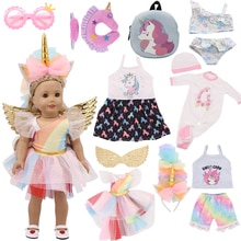Unicorn Kitty Dress For 18 Inch American Doll Accessory Girl Toy Baby Born Clothes 43 cm Doll Access